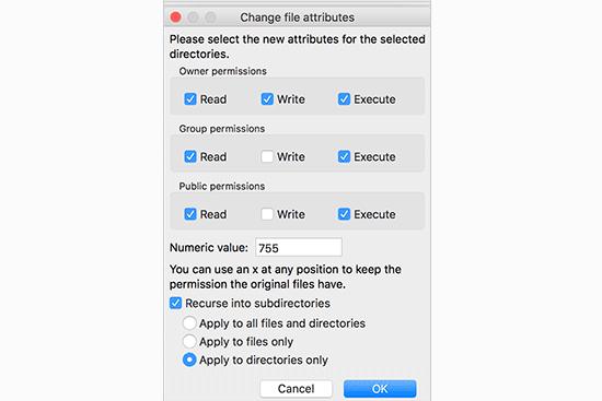 سطح دسترسی فایل ها و فولدرها در وردپرس